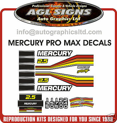 MERCURY PROMAX RACING DECAL KIT , reproductions, outboard