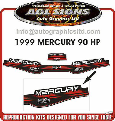 1999 Mercury 90 Hp  Outboard Decal Set, 75