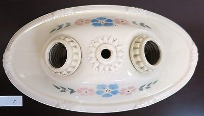 Porcelier Porcelain Ceiling Light Fixture Floral Double Socket Vintage 30's Oval