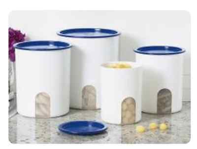 Tupperware Reminder Canisters w/ Windows Set of 4 w/ Brilliant Blue Seals New