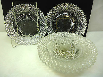 Anchor Hocking Miss American Clear Glass Saucers and Sherbet Plate 4 Piece Lot