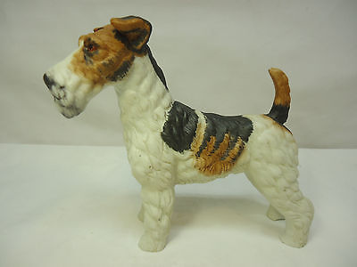 "Vintage Porcelain Fox Terrier Dog Figurine 6"" Tall Unmarked"