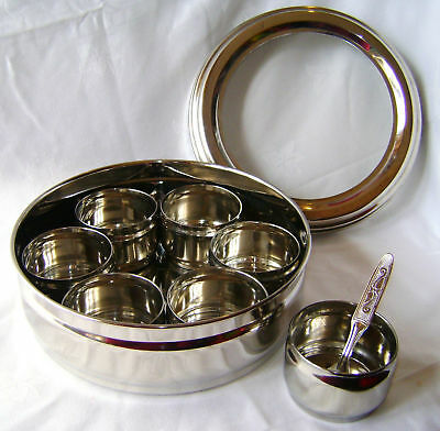 New Stainless Steel Masala Dabba Spice Canister Box With Clear Lid 7 Pots Prima