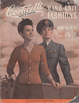 Corticelli Hand-Knit Fashions vintage 1940's knitting pattern book