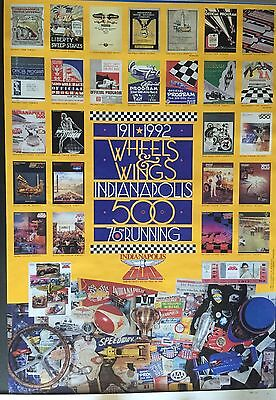 "POSTER Indy 500 Wheels and Wings 1911-1992 Official Program Covers 23"" x 35"""