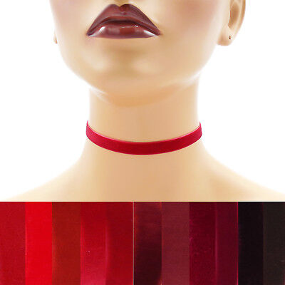 Red Velvet Choker 3/8 inch (9 - 10 mm) wide custom adjustable ribbon necklace