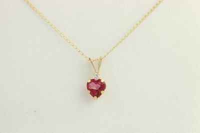 """NEW Heart Pendant Necklace 18""""- 10k Yellow Gold Synthetic Pink Sapphire & CZ"""