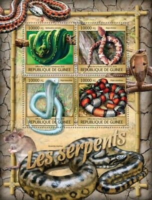 Guinea - 2016 Snakes on Stamps - 4 Stamp Sheet - GU16322a