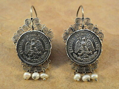 Mexican Mexico Sterling Silver Coin Frida Earrings