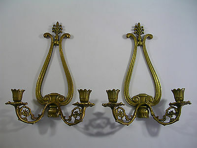 Vintage Lot Set Pair Brass Sconces Floral Scroll Décor Lighting Candle Holders