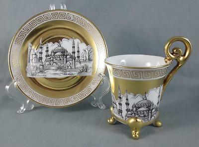 """Vtg JKW W. Germany """"Orient"""" GILDED DEMITASSE CUP & SAUCER Istanbul Blue Mosque"""