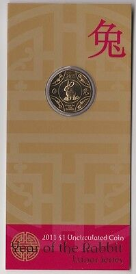 2011 Lunar Series - Year of the Rabbit, $1 UNC Coin in Card, RAM