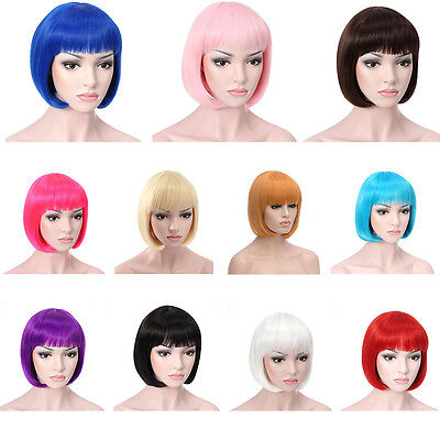 Women's Sexy Full Bangs Wig Short Wig Straight BOB Hair Party Cosplay Extensions