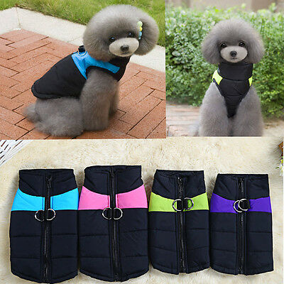 Small Dog Waterproof Coat Pet Cat Puppy Hoodie Thick Jacket Clothes Apparel NEW