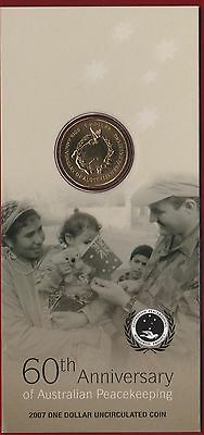 2007 60th Anniversary of Australian Peacekeeping, $1 Uncirculated Coin