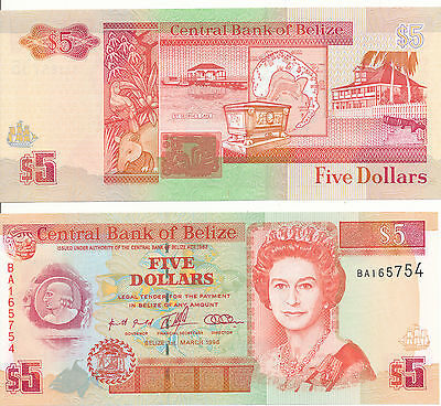 Belize - 5 Dollars 1996 UNC - Pick 58, Serie BA