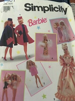Simplicity 7601 Barbie Sewing Pattern Outfits Dress Uncut