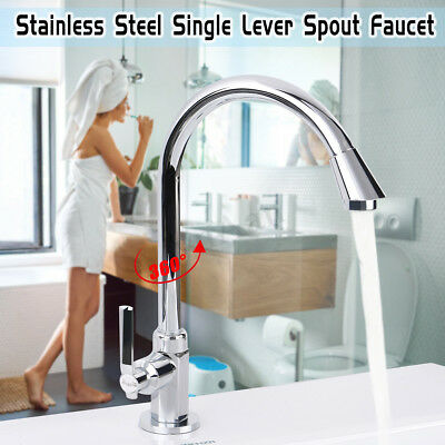 New Stainless Steel Single Lever 360° Swivel Spout Kitchen Cold Water Mixer Tap
