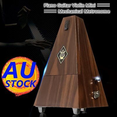 Antique Mechanical Metronome Teak Vintage Wood Color Tower Style Music Timer New