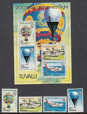 TUVALU 1983 200 years of manned flight. Set of 4 and Miniature sheet. MNH / MUH.