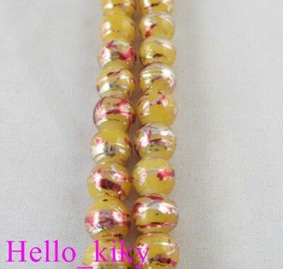 1 Str Yellow glass pearl confetti beads ROUND 8mm M1293