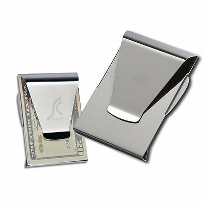 New Stainless Steel Double Side Slim Money Cash Clip Credit Card Holder Wallet