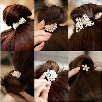 Korean Flowers Bow Heart Pearls Crystal Hair Band Rope Scrunchie Ponytail Holder