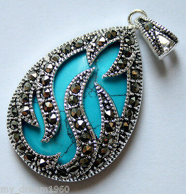 Jewelry & Watches Green Goldstone Oval Gems 925 Sterling Silver Jewelry Marcasite Pendant 30x20mm