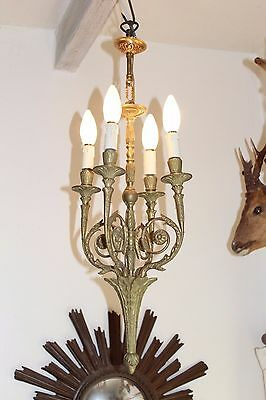 A Superb Antique French 4 Arm Bronze NeoClassic Empire Style Chandelier Light