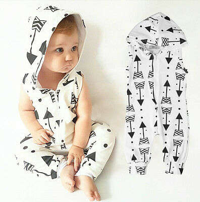Newborn Kids Baby Boy Girl Infant Hooded Romper Jumpsuit Bodysuit Clothes Outfit