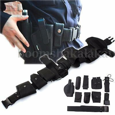 AU Tility Kit Tactical Belt with 9 Pouches for Police Guard Security System