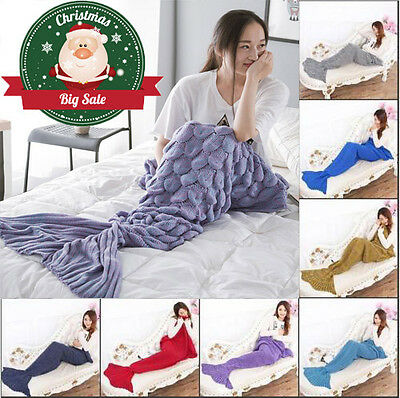 Mermaid Tail Blanket Handmade Fleece Crocheted Cocoon Sofa Beach Rug Quilt Knit
