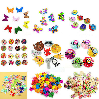 50/100Pcs 2 Holes Colorful Mixed Wooden Buttons Sewing DIY Craft Scrapbooking