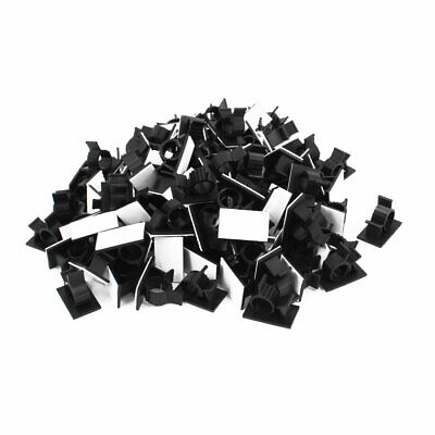 100Pcs Self Adhesive Adjustable Wire Cable Ties Clamp Sticker Clips Black 12.5mm