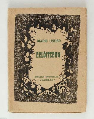 1920 Estonia Avant Garde Cover book by MARIE UNDER Poetry Eelõitseng