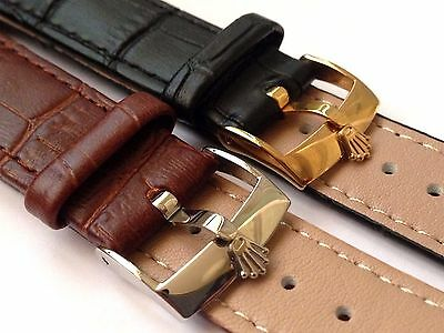 New 18mm/19mm/20mm Black/Brown Gents Genuine Leather Watch Strap For Rolex - 01
