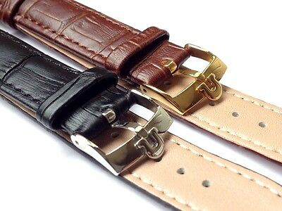 New 18mm/19mm/20mm Black/Brown Gents Genuine Leather Watch Strap For Omega - 01