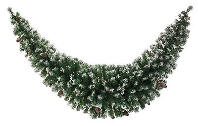 1.8m Christmas Frosted Green With Pine Cones Tinsel Swag Garland Decoration