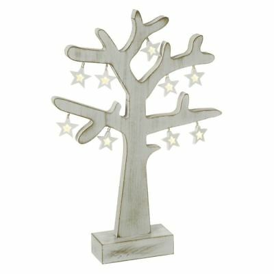 Wooden Winter Tree with Hanging LED Stars Festive Decoration by Heaven Sends