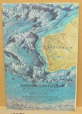 Indian Ocean Floor 1967 National Geographic Magazine Folded Map
