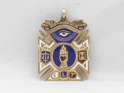 Exquisite Solid 10K Gold & Enamel Odd Fellows Flt Fraternal Watch Fob