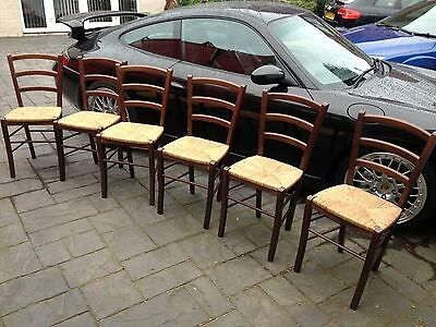Set of 6 Rush Seated Dining Chairs  Ladder Back Kitchen
