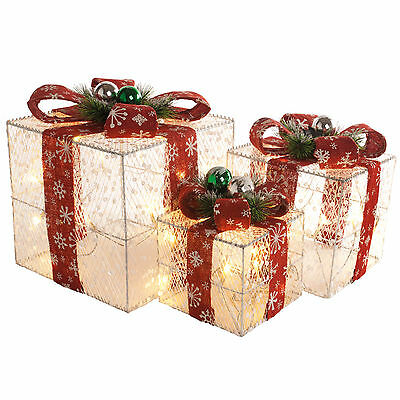 3 Christmas Party Sequin Light Up White Glitter Gift Parcels Red Bow Decorations