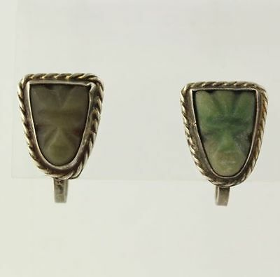 Aventurine Scew Back Earrings Silver - Mexico Vintage Carved Tribal Face