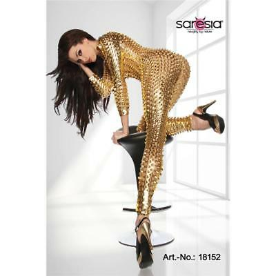 Sexy Overall Jumpsuit Metallic-Look Gogo Clubwear Gold 34/36/38 #ov087