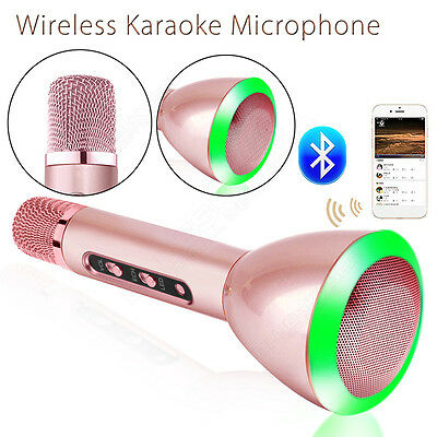 Wireless Microphone Bluetooth Portable Handheld KTV Player Pink For Smartphone