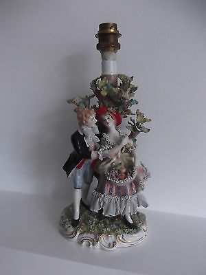 (720) Antique Vintage Capodimonte Figural Lamp Base # Courting Couple by a Tree