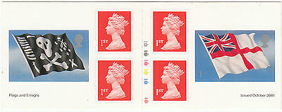 GB 2001 Flags and Ensigns  Self-adhesive 6 x 1 st Booklet  Unmounted Mint