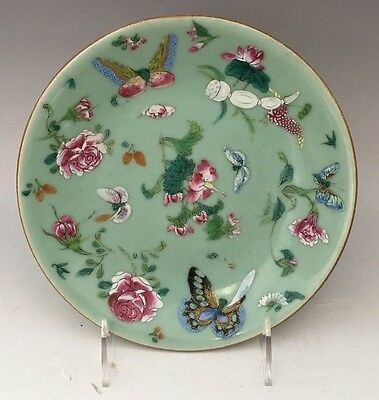 """Signed Chinese Celadon Famille Rose Butterflies Porcelain Plate 7"""" 19th Century"""