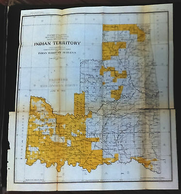 Original 1902 Color survey Map of Civilized Tribes OK AR. Indian territory